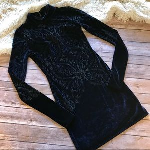 Lacey navy velvet bodycon mini free people dress
